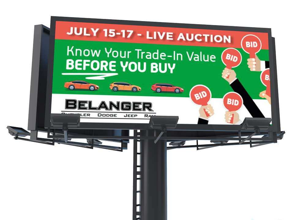 Outdoor Digital Billboards for Incoming and Outgoing Traffic Impact - Belanger Chrysler Dodge Jeep Ram