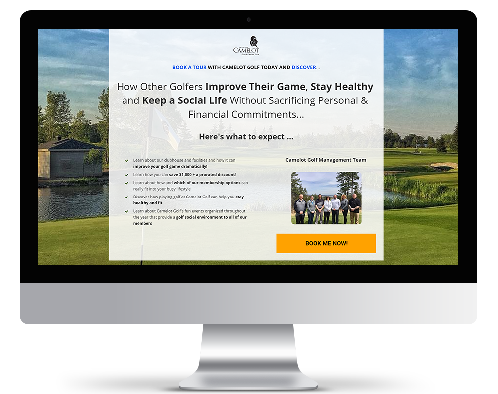 Benefits Driven Converting Landing Page for Camelot Golf and Country Club