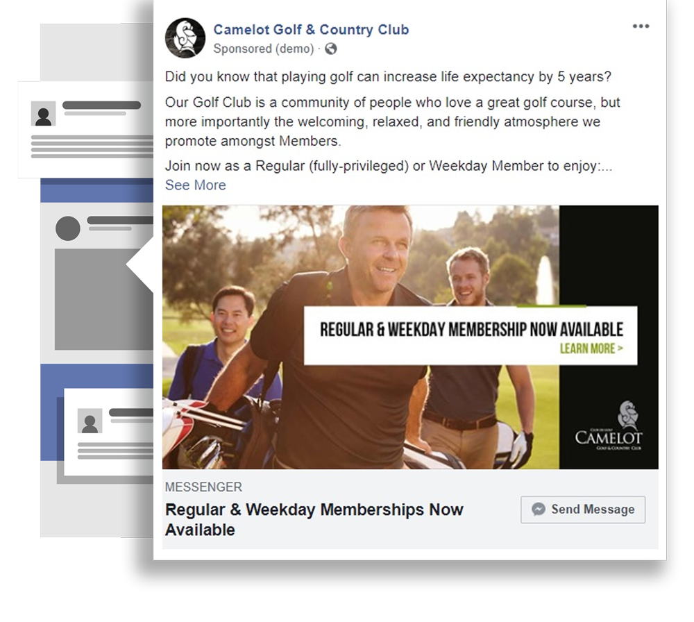 Facebook Ads and Conversational Marketing using Facebook Messenger to Camelot Golf and Country Club